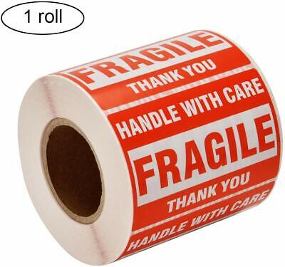 """[1 Roll, 500 Labels] 2"""" x 3"""" Fragile Stickers Handle with Care Warning Packing/S"""