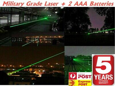 AU Grade High Power RED / GREEN / BLUE Laser Pointer Pen + 2x Batteries