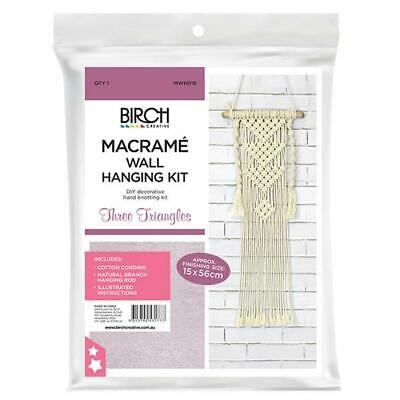 Macrame Wall Hanging Kit - Three Triangles / Diy Decorative Hand Knotting Kit