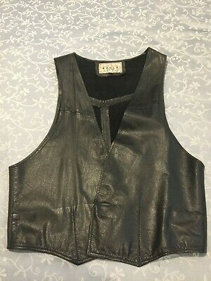 leather vest mens - size L vintage