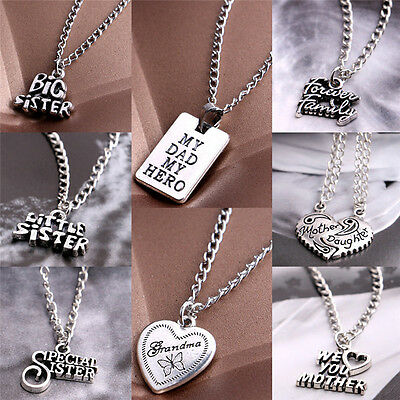 Fashion Sister Mother Daughter Dad Grandma Family Pendant Necklace Jewelry wlPVX