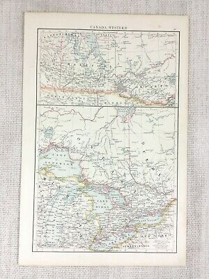 1898 Antique Map of Canada Western Canadian Province Ontario Quebec 19th Century