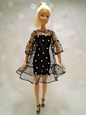 Black handmade dresses for Barbie dolls. for dolls 11.5 inches, clothes for doll