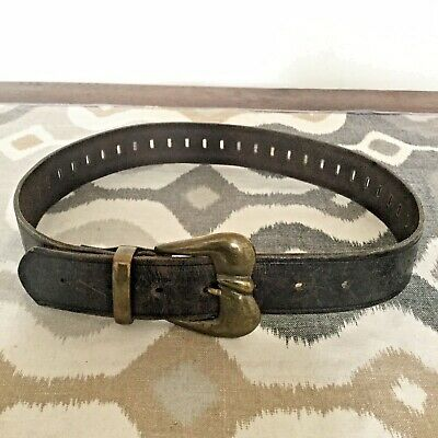 VINTAGE BLACK LEATHER Belt S French Connection Brass Buckle