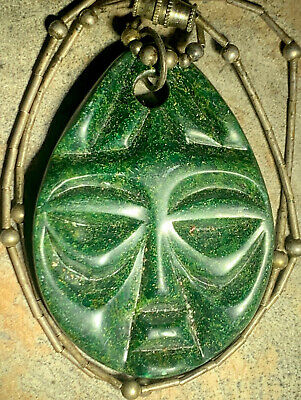Old Rare PRE-COLUMBIAN Ancient MAYAN GREEN JADE FACE HEAD MAN NECKLACE PENDANT