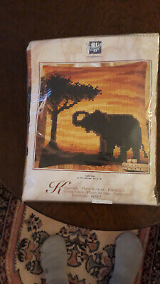 Vervaco Cross Stitch tapestry kit, elephant under tree, browns & oranges colours