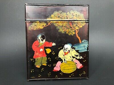 Antique Chinese Toleware Tea Tin Hand Painted Metal Tin Asian Decor VINTAGE