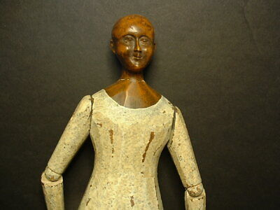 Early 19C. Milliner`s Wooden Expertly Hand Carved Articulated Doll! 13-1/4""