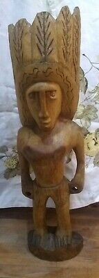 "Large Hand Carved Wooden Indian Chief ~ 22"" Tall"