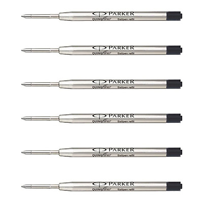 Parker QuinkFlow Ink Refill for Ballpoint Pens, Medium Point, Black Pack of 6