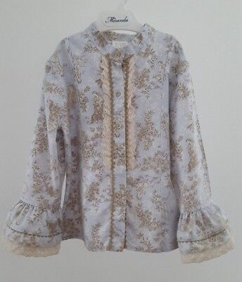 Spanish Girls Long Sleeve Frill Shirt Blouse__5 Years__Romany Blue Angel Floral