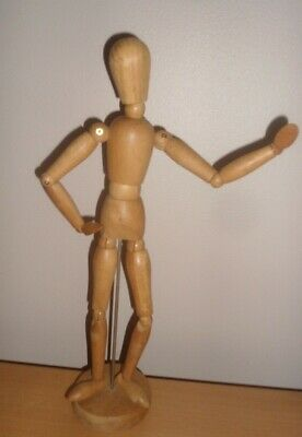 """Wooden Manikin Mannequin Figure Artist Sketching Drawing Model On Stand 13"""""""