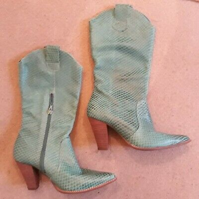 Beautiful Green Boots Real Leather Size UK 5/EUR 38