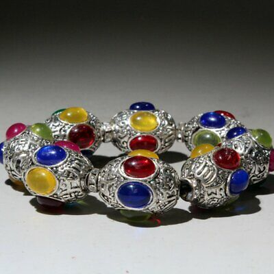 Collectable China Handwork Tibet Silver Carve Colored Agate Beautiful Bracelets