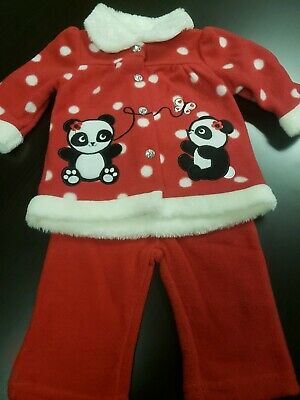 2 Pc Lot Panda Christmas Outfit Girls Size 3/6 Months New With Tags