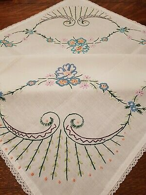 Stunning Small Antique Hand Embroidered Tablecloth 67x67cm