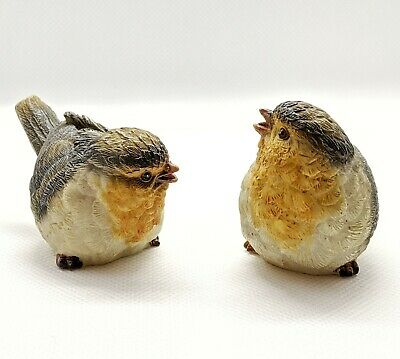 Resin Wrens Birds Lot Of 2 Handpainted Figurines