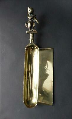 "Rare 19th c Brass Crumb Catcher With ""The Cat & Fiddle"" Handle, Crumb Tray"