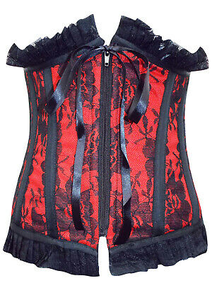 Sexy Black/Red Lace Boned Corset/Basque Goth/burlesque - Size Small to XLarge