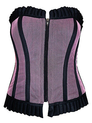 Sexy Black/Lilac Goth/Burlesque Boned Corset/Basque - Size Small to XLarge