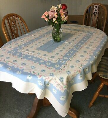Vintage Pastel Pink and Blue Floral 48 x 64  Rectangular Table Cloth