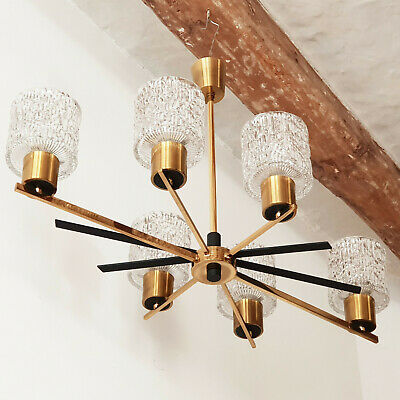 Ceiling Chandelier Home Arlus 1950 Vintage Brass Glass Steel Lacquer Black 50S