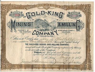 COLORADO: Gold King Mining & Milling Co stock Ames Telluride hydroelectric 1888