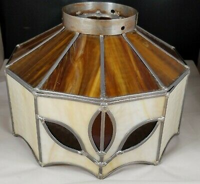 Vintage Leaded Textured Caramel Slag Stained Glass Lamp Shade