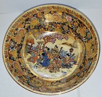 "Antique Japanese Meiji Satsuma Bowl w/Wood Stand ""Musicians in the Garden"""