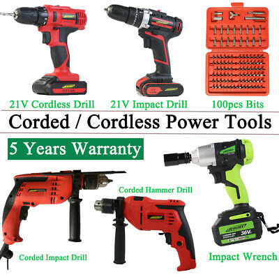 Cordless Corded Electric Impact Hammer Drill Screwdriver Wrench Gun W/ Accessory