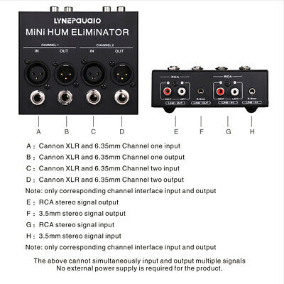 2-Channel Hum Noise Eliminator  Box TRS and XLR Inputs Outputs
