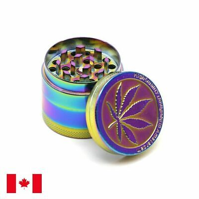 New Rainbow Design Zinc Alloy 4 Layer 50mm Spice Herb Grinder w/ Scraper