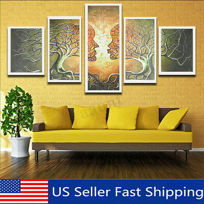 5 Panels Modern Abstract Love Lady Tree Canvas Painting Prints Wall Art   g US