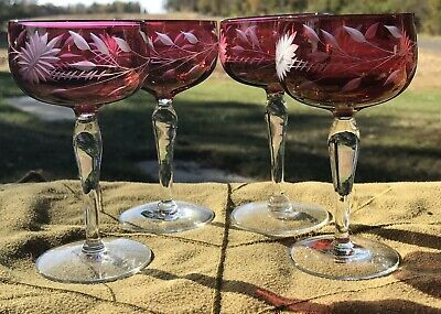 "Cranberry Cut To Clear 2 Oz Stemmed Glasses 5"" Set Of 4 Irridescent"