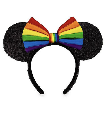Disney Parks Mouse Ears Minnie PRIDE Rainbow Bow Sequin Headband Hat - NEW
