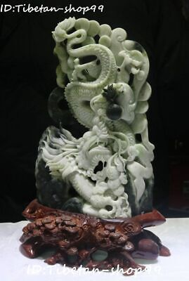 "16"" Rare Natural Dushan Jade Fengshui Dragon Play Bead Peanut Ruyi Animal Statue"