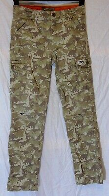 Boys Fat Face Green Denim Dinosaur Camouflage Ripped Knees Jeans Age 12-13 Years