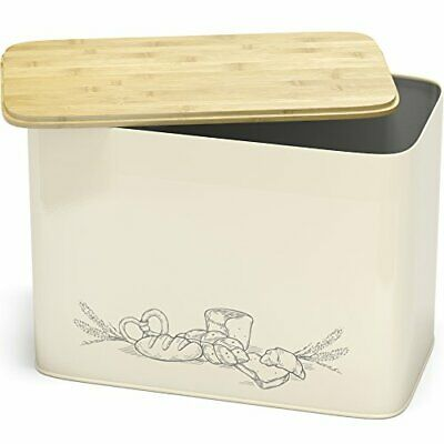 Extra Large Space Saving Vertical Bread Box With Eco Bamboo Cutting Board Lid