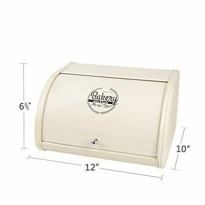 Home by Jackie Inc X458 Metal Bread Box/Bin/Kitchen Storage cream white