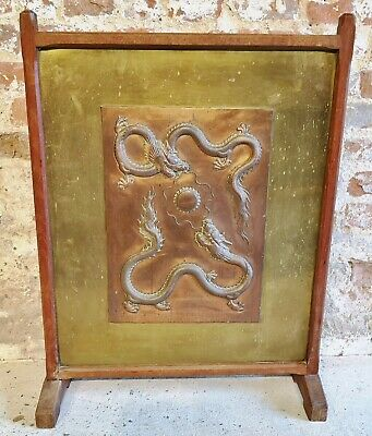Arts & Crafts Oak Framed Chinese Copper Panel