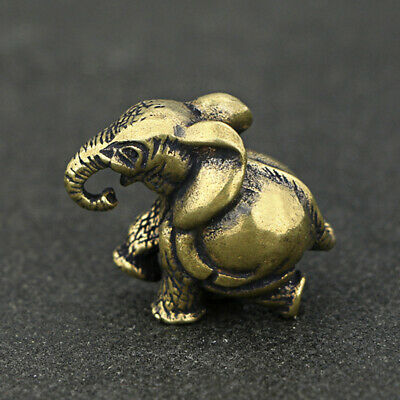 Chinese Brass Small Elephant Figurine Statue Feng Shui Ornament Home Decoration