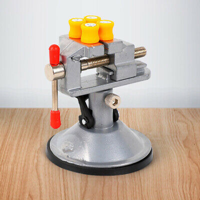 Mini Bench Vise Table Swivel Lock Clamp Vice With Suction Cup Aluminum New