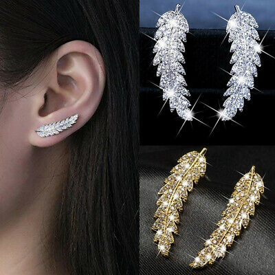 925 Sterling Silver Leaf Crystal Rhinestone Earring Stud Fashion Women Jewellery