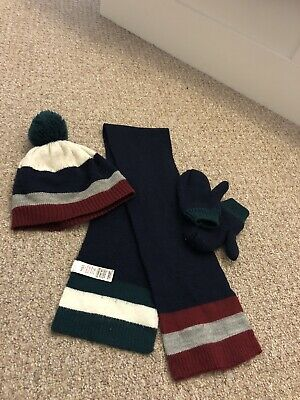 M&S Boys Kids Hat, Scarf& Gloves Set Knitted- Fleece (size 3-6 Yrs)