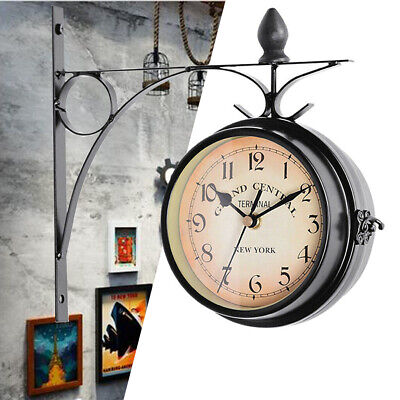 Waterproof Garden Station Clock Wall Mounted Hallway Double Sided Antique Clocks