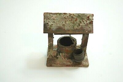 "Vintage Wooden Hand Crank Well Folk Art Rustic Look 4.25"" Tall Possible Italian"