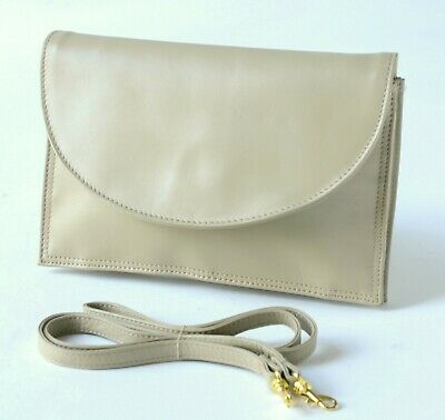 BEIGE SOFT LEATHER SHOULDER / CROSSBODY / CLUTCH BAG Small, Vintage (Like Tula )