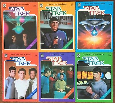 Lot of 6 Vintage Star Trek Color and Activity Books Kirk Spock Bones UNUSED
