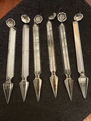 "Antique Lustre French Gothic 6 Crystals Spear Head Prisms 9"" Old Original Luster"