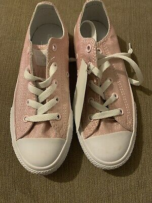 Converse Girls Size 1 Pink Sparkly Trainers New Sale
